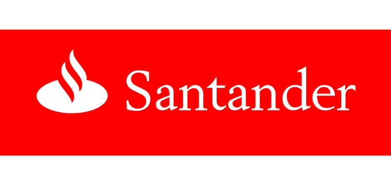 The Satander bank logo, white text on red background