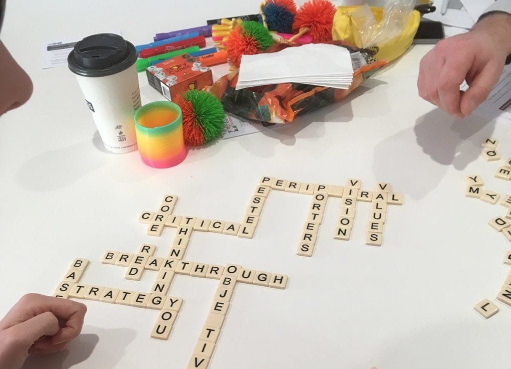 A word exercise at a management and leadership apprentice workshop, playing scrabble with only management terms.