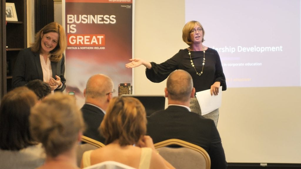 Anne Nash and Louise Boyling present a talk on leadership development and corporate training at the a British Business Forum event in Slovakia