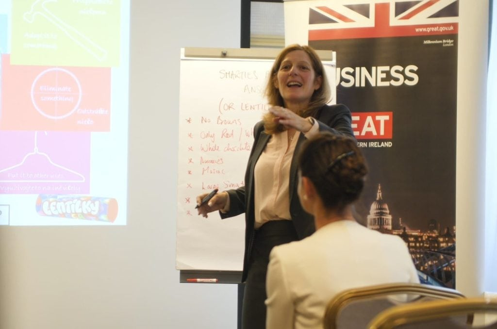 Louise Boyling gives a management and Leadership Presentation at a British Business Forum Event in Slovakia